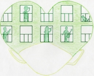 Dibujo de un corazón verde